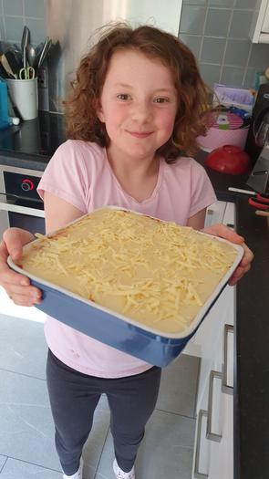 Chef Evie with her Lasagna
