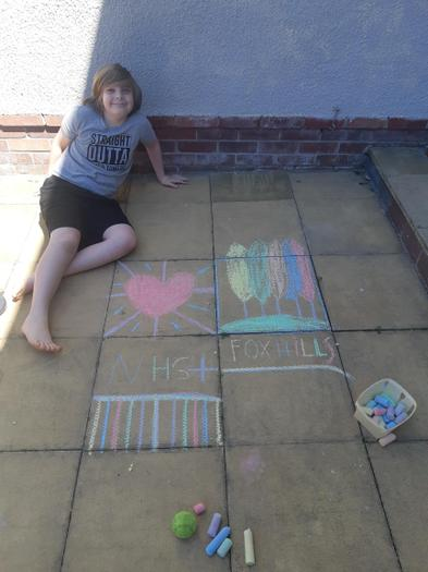 Max having fun, doing chalk pictures
