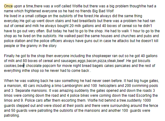 Part of Ollie's twisted fairy tale.