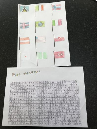 Ben's flag and wordsearch for a family member