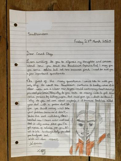 Xenia wrote a letter to the villainous Count Olaf