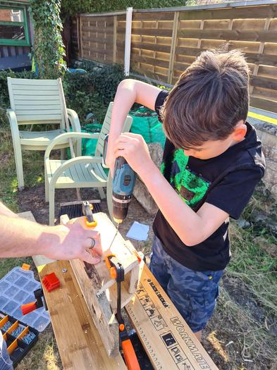 Elliot making the bird box!
