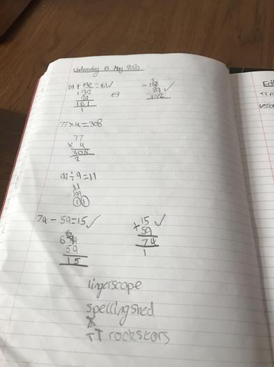 Alaina's maths learning