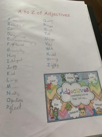 Mia's Adjectives learning