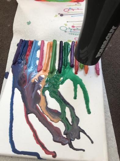Alaina's melted wax crayon art work