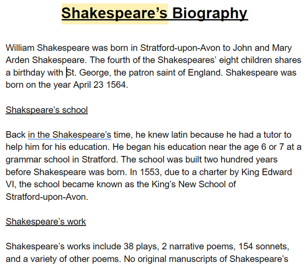 Roxy wrote a biography about William Shakespeare