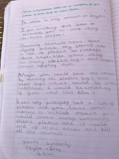 Skyla's persuasive letter to reduce plastic waste