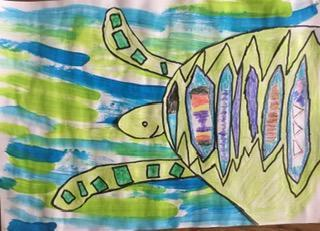Finn's sea turtle art for World Ocean Week