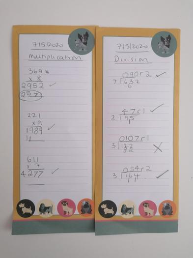 Erin's multiplication learning!