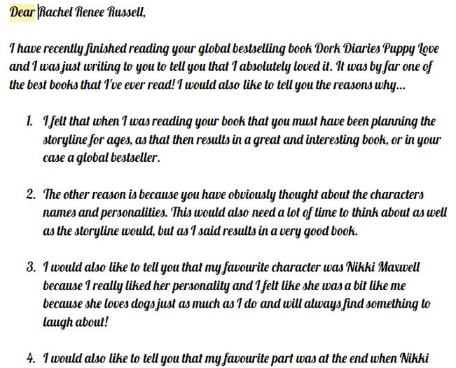 Erin wrote a letter to Rachel Russel