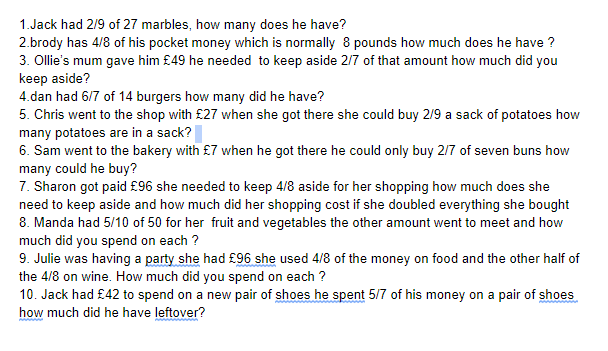 Can you solve Ollies Fraction word problems