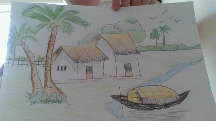 Jack R drew this landscape and coloured it in