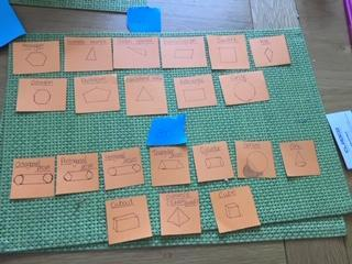 Erin made some shape flash cards