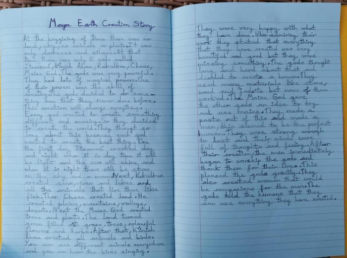 Oliwia wrote a Maya creation story