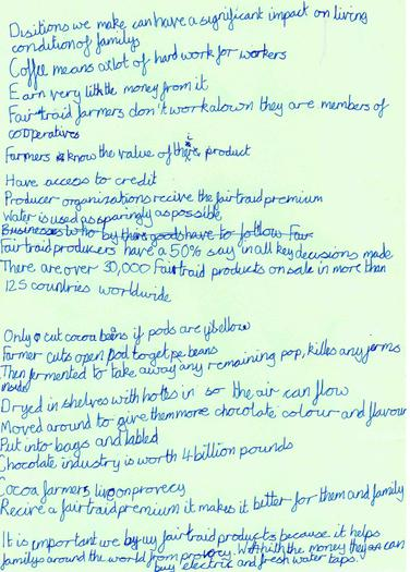 James wrote notes on why Fairtrade is important