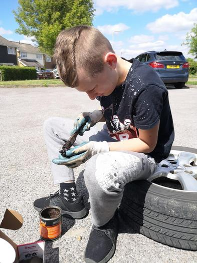 Cody has been helping with car maintenance
