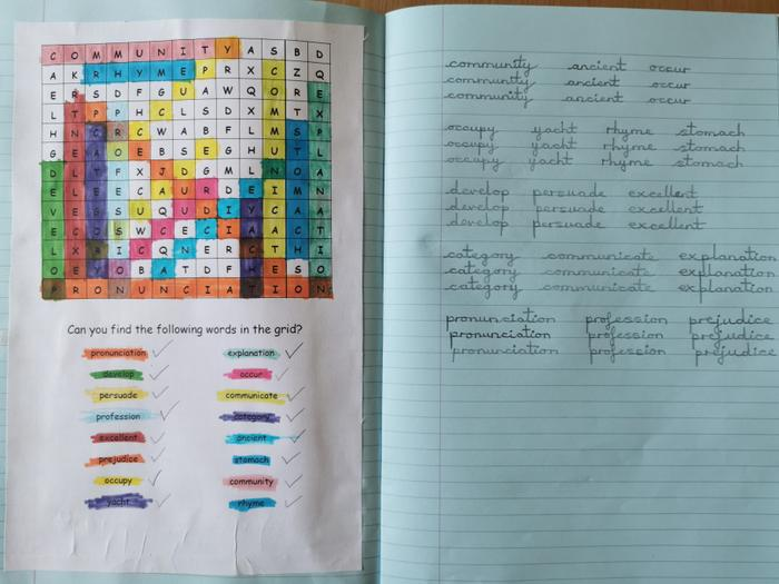 Oliwia completed the Yr5/6 spelling wordsearch
