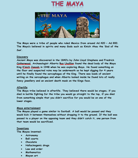 Information about the Maya by Ben