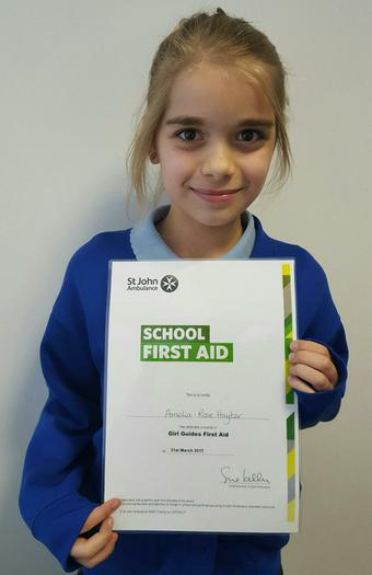 Amelia-Girl Guides 1st Aid certificate!