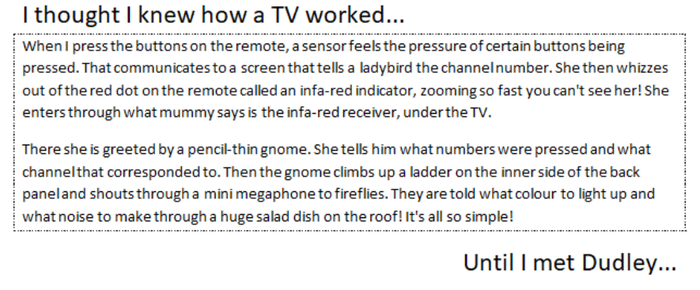 Raffy imagined how a TV & remote might work!