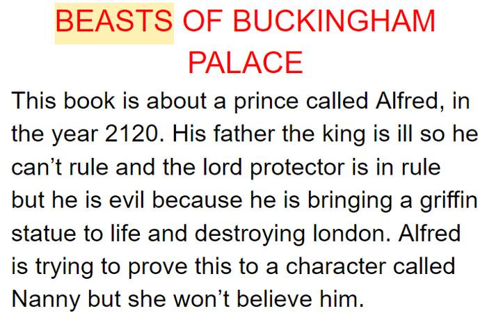 Zack's summary of The Beast of Buckingham Palace
