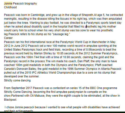 Ollie's biography about a Para Olympian
