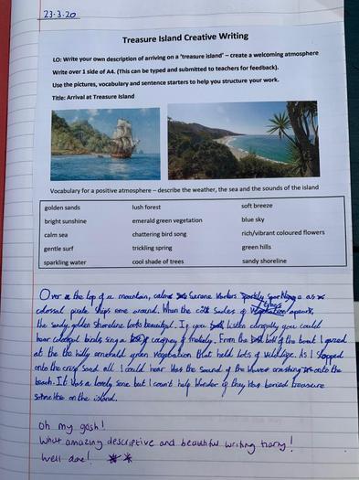 Harry's treasure Island writing