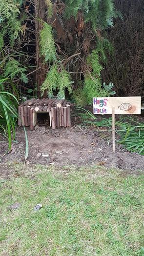 Toby has built a hedgehog house