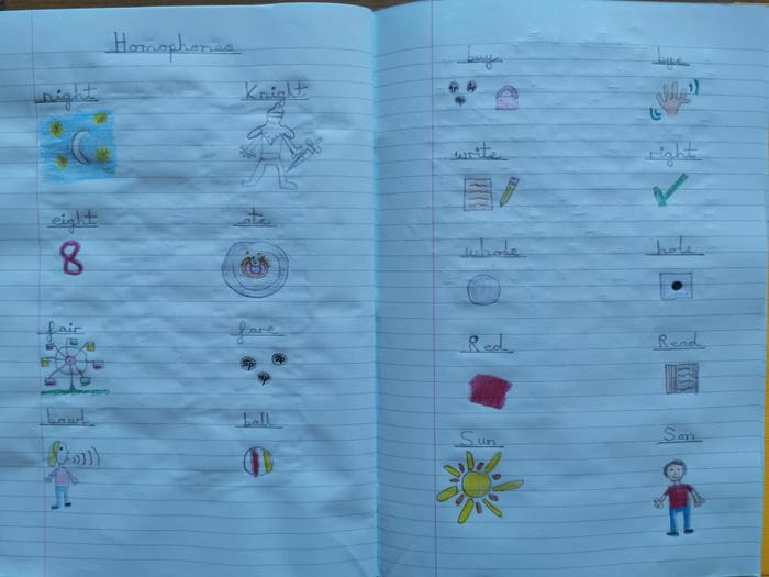 Oliwia's learning about homophones