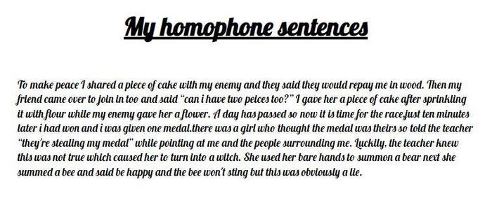 Kim's silly sentences using homophones!