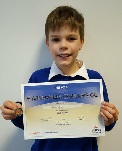 Thomas: ASA swimming Award... GOLD!