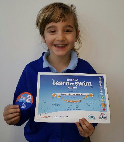 Anya (3AT) Swimming Award - Badge 2!
