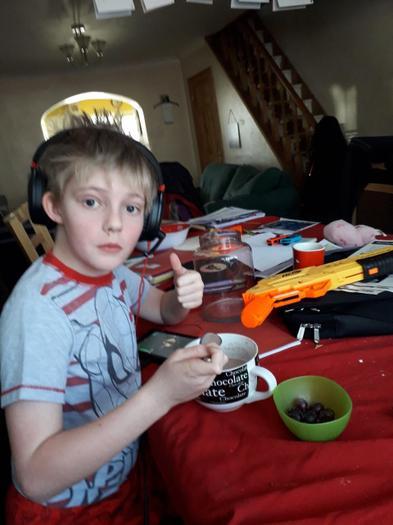 Mark's brother enjoying his Maya hot chocolate!