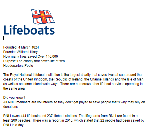 All about the lifeboats by Ollie