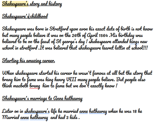 Ethan's biography about William Shakespeare