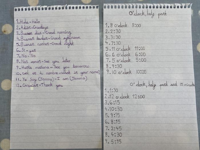 Jemma's Spanish and time practice