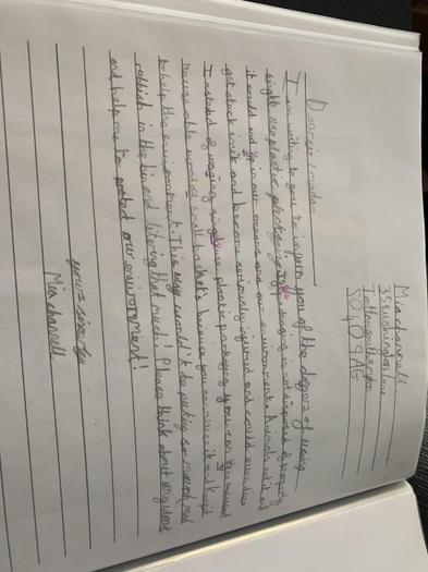 Mia's letter to persuade