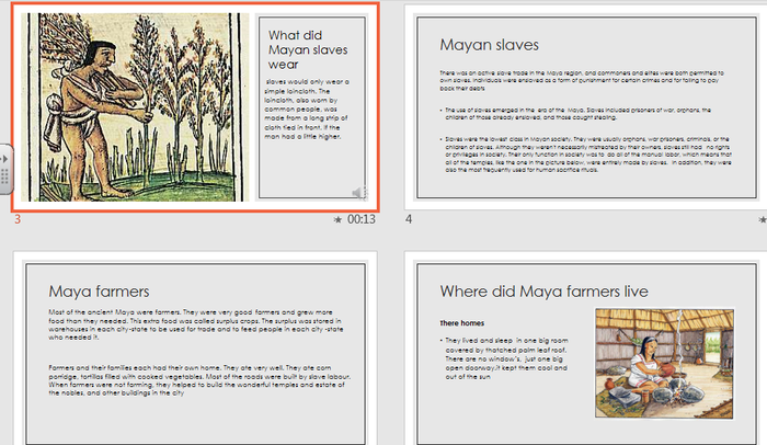 Ollie created a PowerPoint on the Maya