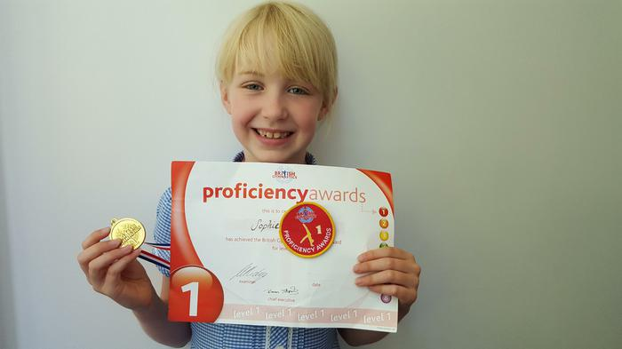 Sophie - British Gymnastics award: Level 1!