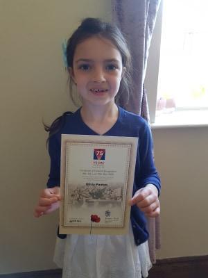 She even got a certificate! Well done Olivia!