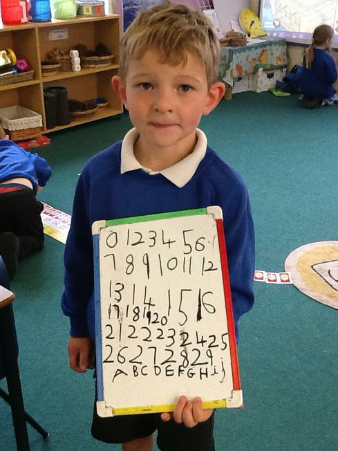 practising writing numbers and letters