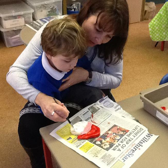 painting our Christmas decorations