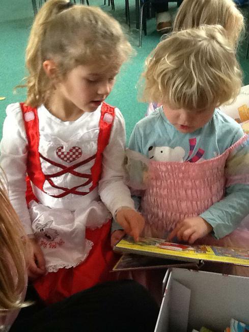 enjoying a book together