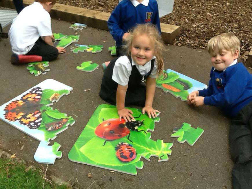 working together to complete the puzzles