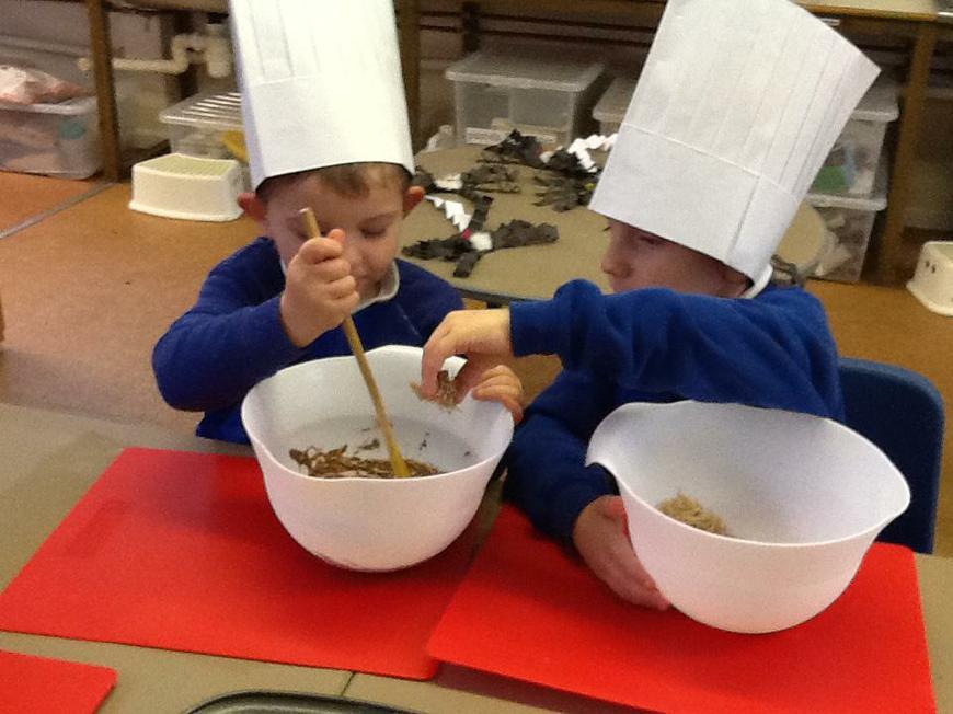 making 'Owl nest' cakes