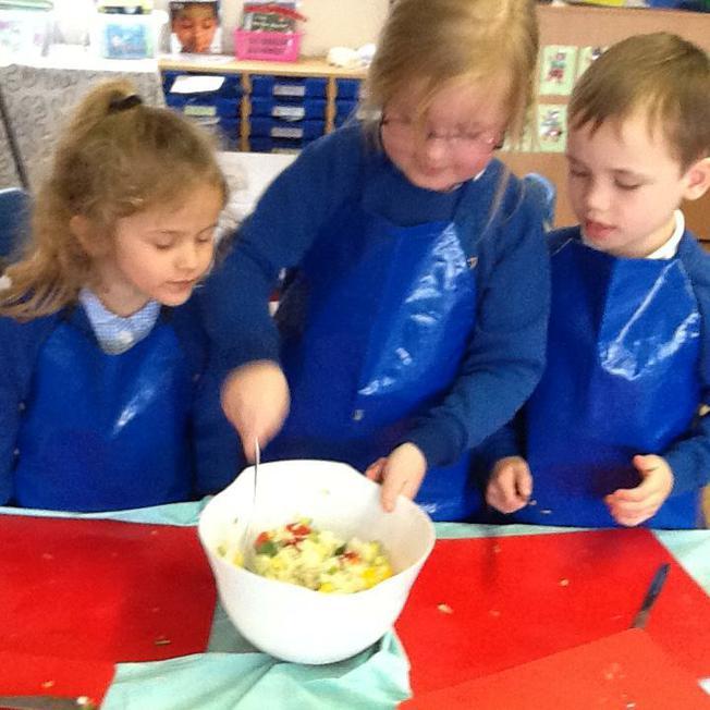 Rainbow Rice - mixing the ingredients