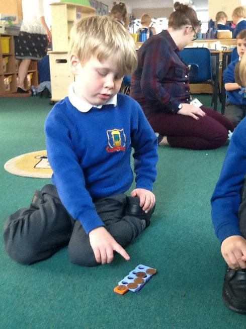 Using Numicon to help us 'pay' withmixed coins