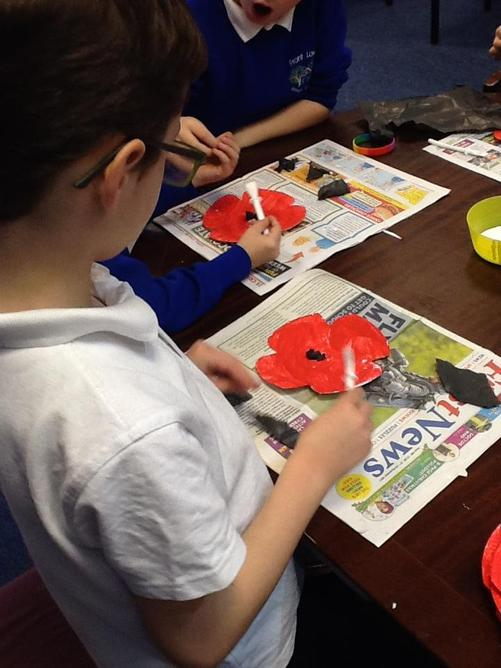 We spent time creating individual poppies.