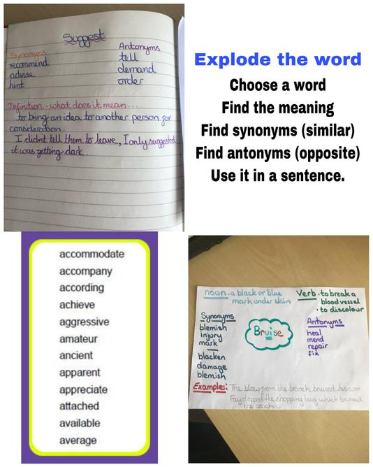 Explode the word examples
