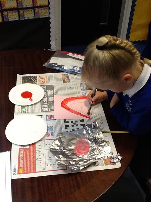 We learnt how to mix secondary colours.